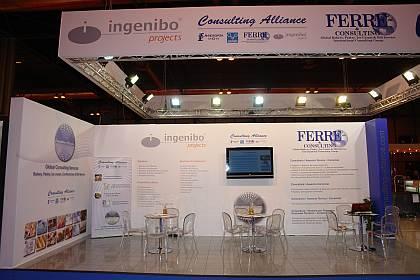 Vista general del stand de Consulting Alliance Holding, en el que se presentó la nueva imagen corporativa de esta alianza (formada por Ferré & Consulting Group, Ingenibo Projects, Asesoría I+D+I y Laboratorios Aslab), en Intersicop 2011, Ifema.