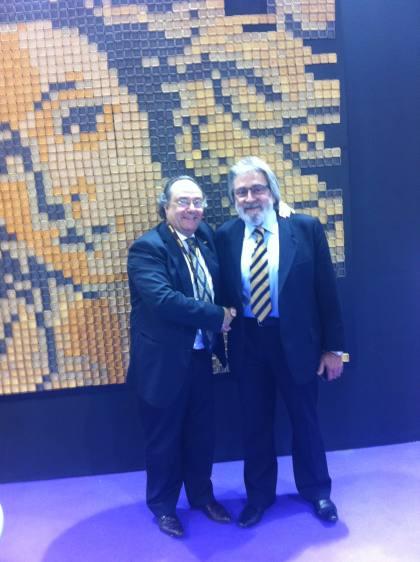 El Dr. Ferruccio Perinni, como Bakery Technologist, Asociate Consultant para Italia (dcha) junto al Sr. José R. Ferré, CEO de Ferré & Consulting Group-Consulting Alliance Holding en la entrada a SIGEP, en Rimini (Italia).