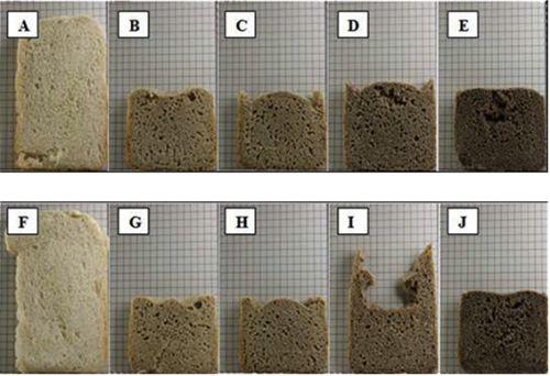 Imagen de las rebanadas de pan elaboradas con las diferentes mezclas. a)  100 (harina trigo flojo) ; b) 85/15 (harina trigo flojo/ teff blanco); c) 70/30 (harina trigo  flojo/ teff blanco); d) 85/15 (harina trigo  flojo/ teff rojo); e) 70/30 (harina trigo flojo/ teff rojo); f) 100 (harina trigo fuerte); g) 85/15 (harina trigo fuerte/ teff blanco); h) 70/30 (harina trigo fuerte/ teff blanco); i) 85/15 (harina trigo fuerte/teff rojo); j) 70/30 (harina trigo fuerte/teff rojo).